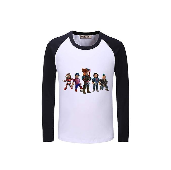 Unisex Roblox Fashion Print Camisetas de Manga Larga Pullover Simple Sudaderas Informales Remiendo Camiseta de Manga Larga para Hombres y Mujeres: ...