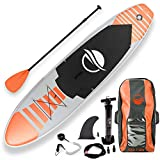 SereneLife Premium Inflatable Stand Up Paddle Board (6 Inches Thick) with SUP Accessories & Carry Bag | Wide Stance, Bottom Fin for Paddling, Surf Control, Non-Slip Deck | Youth & Adult Standing Boat