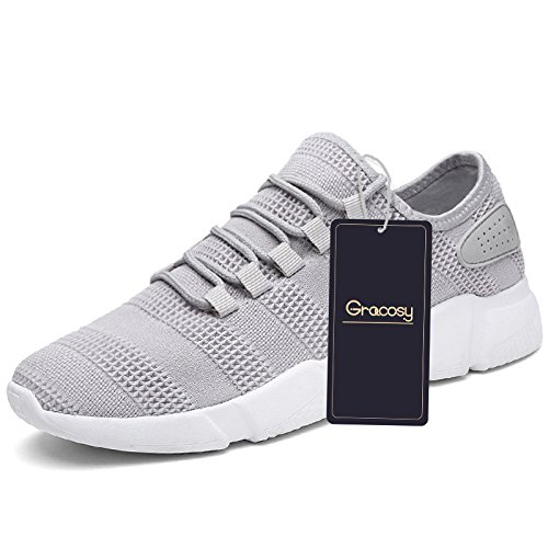 Men's Sports Shoes, Gracosy Fashion Breathable Sneakers Walking Shoes Mesh Soft Sole Casual Athletic Lightweight Grey 11 US