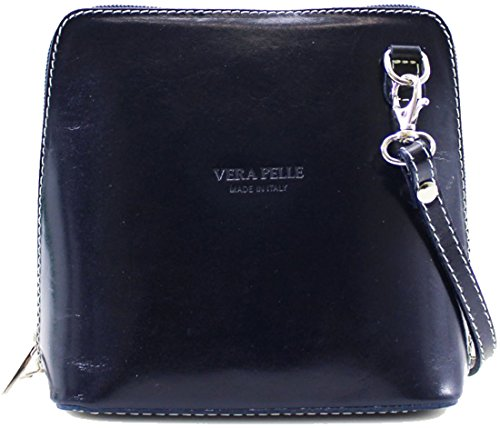 Handbags Vera Pelle Genuine Navy Body Over Shoulder Bag Small Ladies Messenger Italian Women Cross Leather Bags 7d66Oqawx