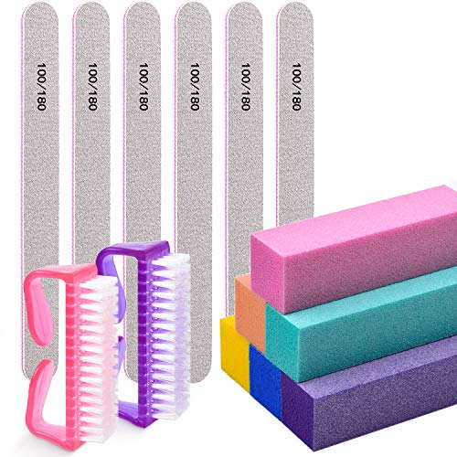Nail Files and Buffers,Morgles Professional Manicure Tools Buffers Block Tools 100/180 Grit Nail Scrubbing Brush 14pcs/pa