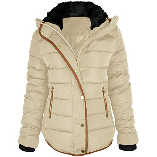 Fashion Thirsty Women's Quilted Winter Puffer Coat 12 Beige