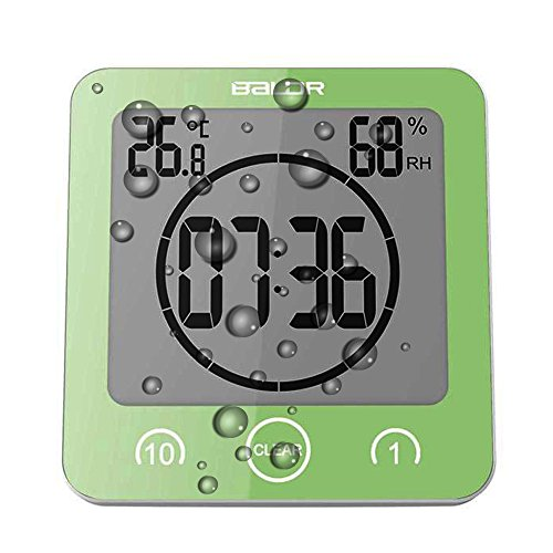 Digital Shower Wall Clock with Timer Temperature Humidity Monitor, Waterproof Bathroom Clocks for Water Spray, Digital Alarm Clock Mirror Suction [Touch Screen] [No Falling Wall Mounted] (Green)