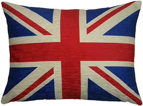 (Flag FILLED EVANS LICHFIELD UNION JACK RED BLUE MADE IN UK CUSHION 43 X)