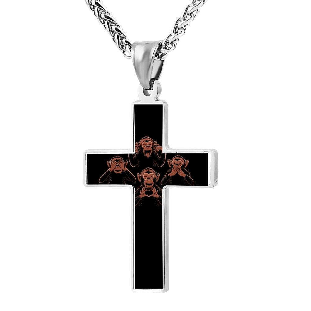 Kenlove87 Patriotic Cross Three Wise Monkey And One Lover Religious Lord'S Zinc Jewelry Pendant Necklace
