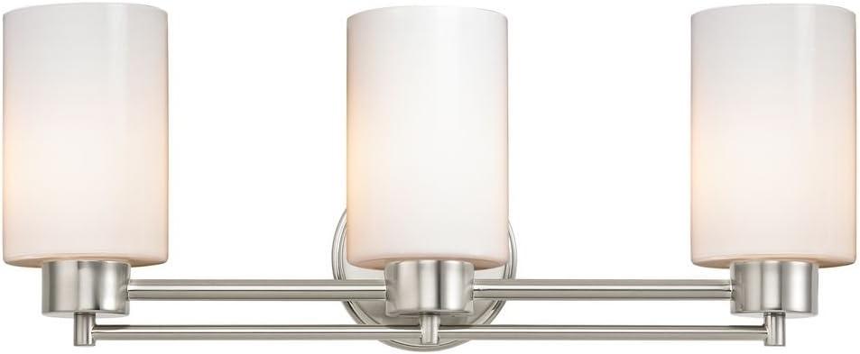 Modern Bathroom Light with White Glass in Satin Nickel Finish