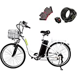 """NAKTO 26"""" 250W Electric Bicycle Sporting Shimano 6 Speed Gear EBike Brushless Gear Motor with Removable Waterproof Large Capacity 36V10A Lithium Battery and Battery Charger -Class AAA"""
