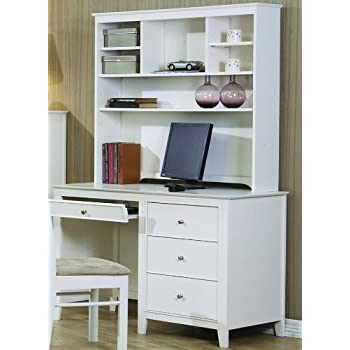 Amazoncom Selena White Computer Desk with Hutch by Coaster