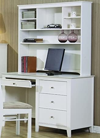 Selena White Computer Desk With Hutch By Coaster Furniture