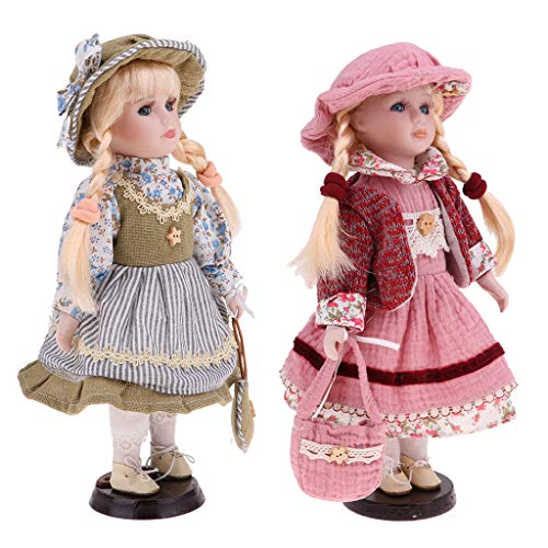 CUTICATE 2PCS 12inch Vintage Porcelain Doll in Dress, Creative Valentin Gift for Girlfriend, Dollhouse People Display Decor Collection
