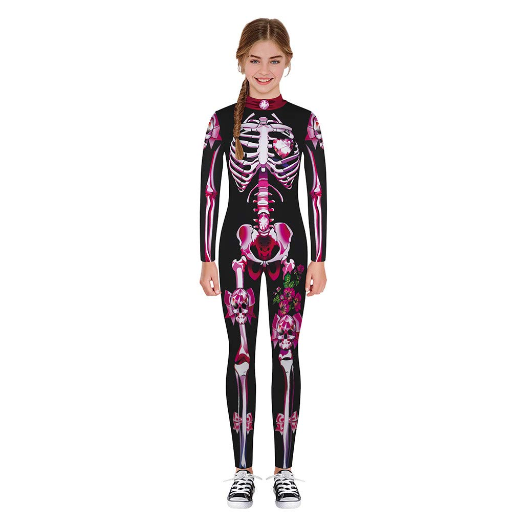 Halloween Costume Skeleton Print Bodycon Jumpsuits for Girls Boys, Teen Funny Skull Bodysuit (S, Hot Pink) by sweetnice Girls Dress