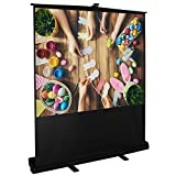 Cloud Mountain 100'' 4:3 HD Projector Screen Portable Pull Up Floor Projector Projection Screen in Aluminium Case Easy Use Outdoor Indoor Home Theater 1.3 Gain