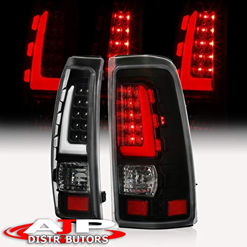 AJP Distributors LED Tube Style Tail Lights Lamps For Chevy Silverado/GMC Sierra 1500 2500HD 3500 Clear Lens Black Housing Tube LED Style Pair Driver + Passenger Upgrade Replacement Assembly Set