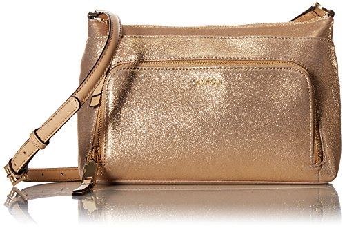 Calvin Klein Suede Top Zip Crossbody, Gold