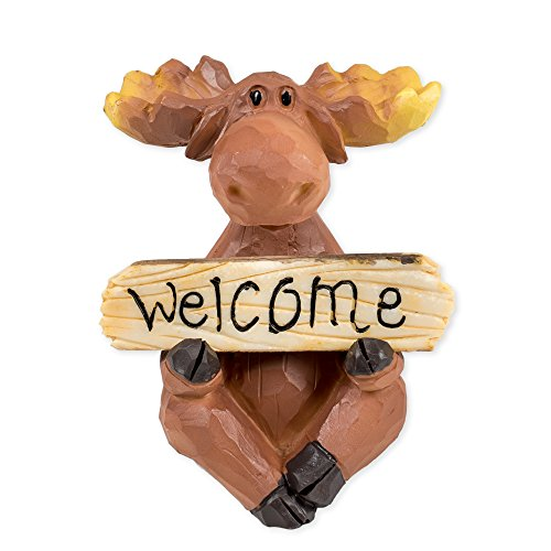 (Moose with Welcome/Go Away Sign 3.5 x 3.5 x 4 Inch Resin Crafted Tabletop Figurine)