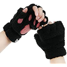 Cute Cat Paw Claw Gloves for Women Girls Winter Warm Fingerless Faux Fur Plush Gloves