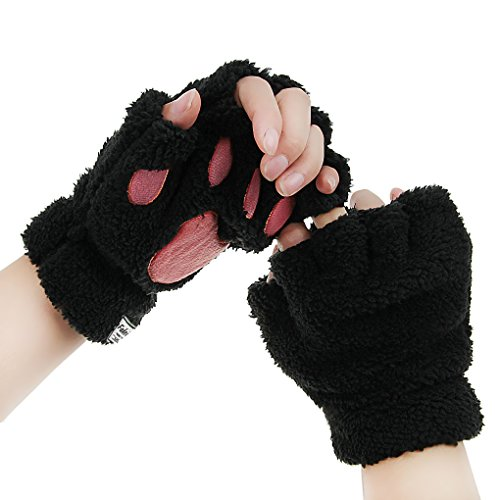 Girls Women Plush Bear Claw Cat Paw Fingerless Glove Soft Warm Winter Mittens, Black