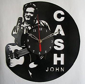 Amazon.com : Johnny Cash Vinyl Wall Clock Decor for Living Room ...