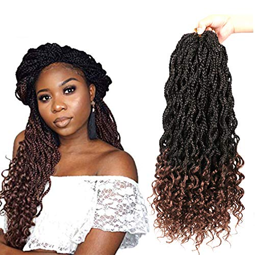 (7 Packs Wavy Box Braids with Curly Ends 20 Inch Crochet Hair Synthetic Kanekalon Fiber Braiding Hair Extension Synthetic Crochet Braids Hair 20 strands/pack (Top Wavy Box Down Wavy, T30))