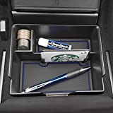 Custom Fit Center Console Organizer Tray with Deeper Pocket & Credit Card Holder for Tesla Model 3 2017 2018 2019 7-pc Set (Dark Blue Trim)
