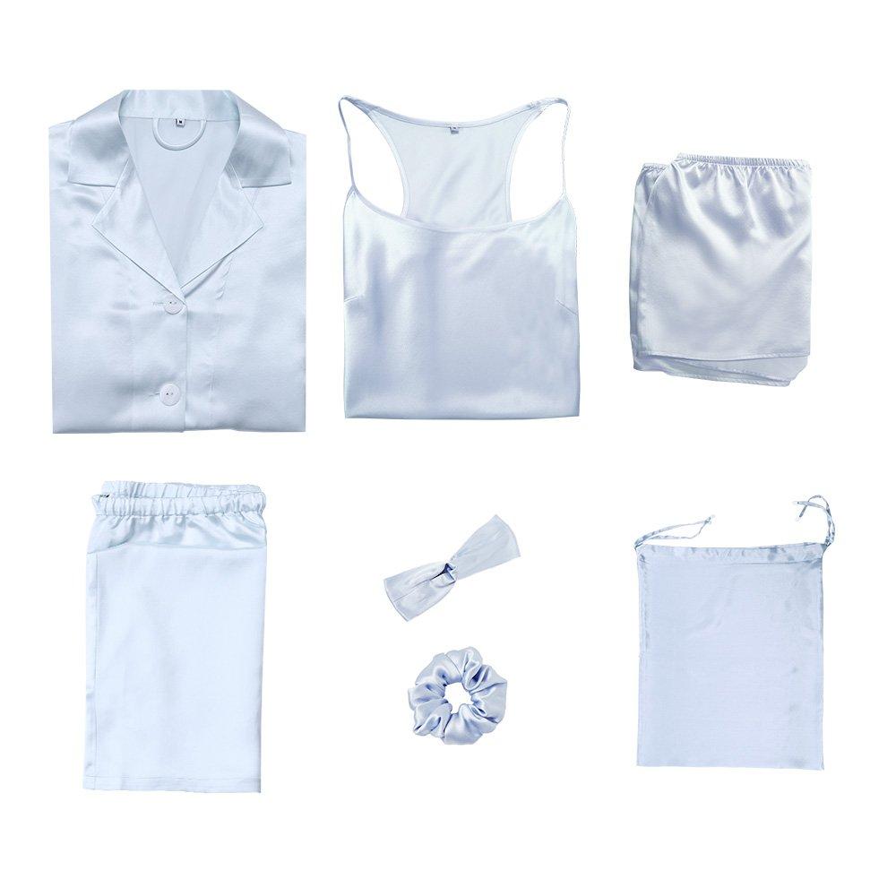 LilySilk 7pcs 22 Momme Silk Pajamas Set Hair Band Tie Travel Bag Light Sky Blue M/8-10
