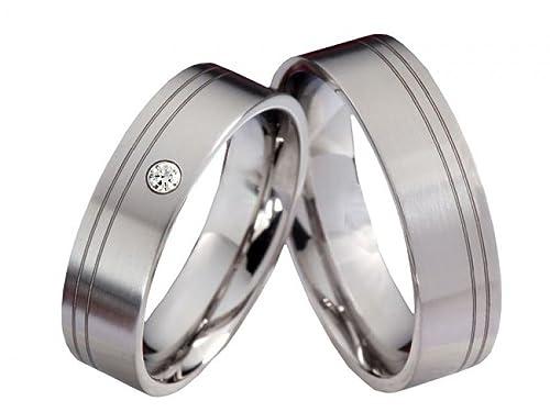 Anillos de Compromiso Partner T029 anillos alianzas Titanio con Swarovski de Circonitas Incluye grabado