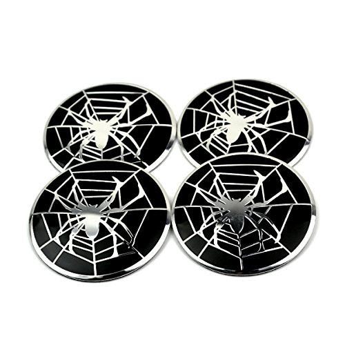 56mm Silver Spider Styling Car Wheel Center Hub Caps Sticker Set of 4