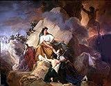Francois-Edouard Picot Cybele Protege Contre le Vesuve les villes de Stabiae Herculanum Pompei et Resina - 21'' x 28'' 100% Hand Painted Oil Painting Reproduction
