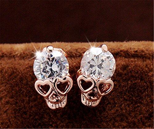 Skull Earrings (Fusicase New Crystal Champagne Retro Resins Skull Earrings)