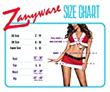 Zanyware Womens Sexy Christmas 5pcs Costume Outfit with hat, top, Belt, Skirt and String