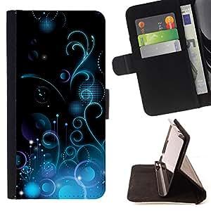 BullDog Case - FOR/Apple Iphone 4 / 4S / - / Design Blue Floral /- Monedero de cuero de la PU Llevar cubierta de la caja con el ID Credit Card Slots Flip funda de cuer
