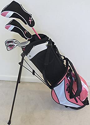 Girls Ages 8-12 Junior Golf Club Set with Stand Bag for Kids Pink Color Right Handed Premium Professional Quality