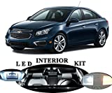 Chevrolet Chevy Cruze Xenon White LED Package Upgrade - Interior + License plate / Tag + Vanity / Sunvisor (11 pieces)