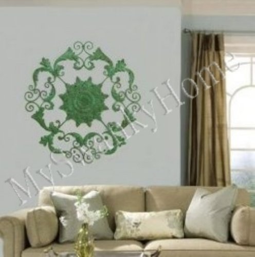"""XL 50"""" Old World Iron Floral Wall Medallion - Green"""
