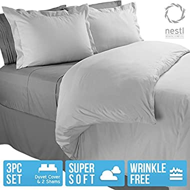 Nestl Bedding Microfiber Twin 2 Piece Duvet Cover Set - Light Gray