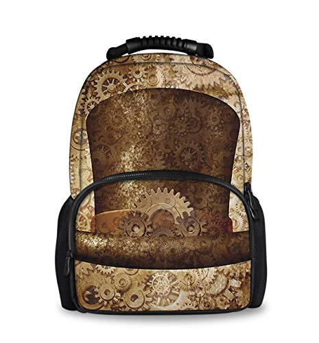 Durable Polyester Rucksacks Steampunk Top Hat As A Science Fiction Camping Outdoor Backpack - Large Capacity Multipurpose Anti-Theft Carry-On Bag for Girls Boys