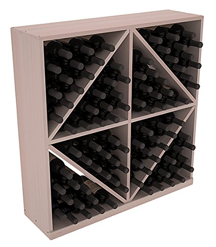 Diamond Rack Bin Solid Wine (Wine Racks America Redwood 96 Bottle Solid Diamond Bin. Grey Wash Stain + Satin Finish)