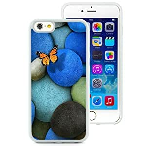 NEW Unique Custom Designed Samsung Galaxy S6 Inch TPU Phone Case With Lonely Butterfly Blue Rocks_White Phone Case