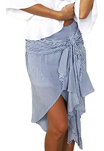 Zhaoyun Womens Stripe Bow Belt Ruffles Irregular Summer Casual Flare Madi Skirt Blue-M