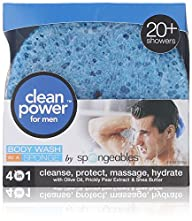 Spongeables Clean Power for Men- Body Wash in a Sponge (Pack of 3)