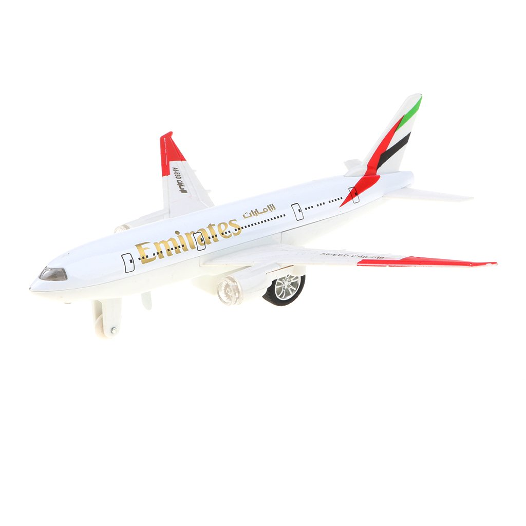Homyl Alloy Die-cast Pull Back Plane Toy, White Colored Boeing 777 Airplane Model for Kids, Adults Collectibles - Emirates