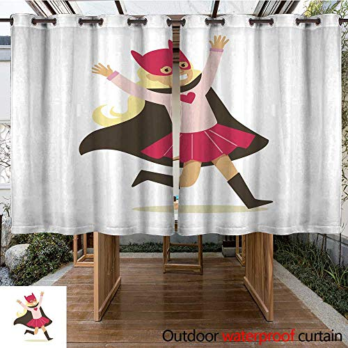 (RenteriaDecor Outdoor Balcony Privacy Curtain Girl Pretending to Have Super Powers Dressed in Pink Superhero Costume with Black Cape and Cat Mask Smiling Character W84 x)