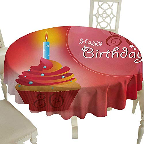 Outdoor Round Tablecloth 60 Inch 80th Birthday,Birthday Party Cupcake with a Candle and Beaming Sun Image Print,Orange Red and White Great for Buffet Table,Parties,Holiday Dinner & More -