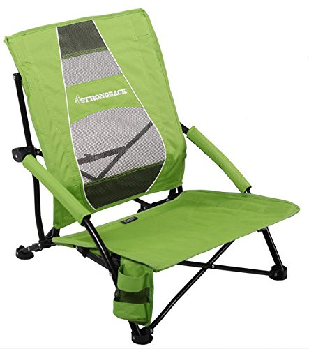 STRONGBACK Low Gravity Beach Chair with Lumbar Support, Lime Green - Low Profile Seat Slide
