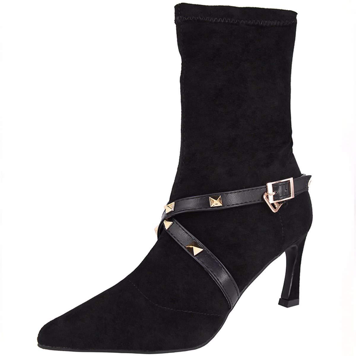 KPHY Damenschuhe/Kurze Stiefel Mit Hohen 7Cm, Persönlichkeit, Scharf Darauf, Nieten, Kurzen Schlauch, Elastische Schuhe, Mode, Schuhe.