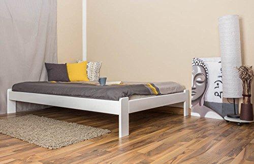 Futonbett / Massivholzbett Kiefer Vollholz massiv weiß lackiert A10, inkl. Lattenrost - Abmessung 140 x 200 cm
