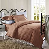 1800 Series Damask Stripe Duvet Cover 3PC Set With Pillow Shams/Brown/Twin