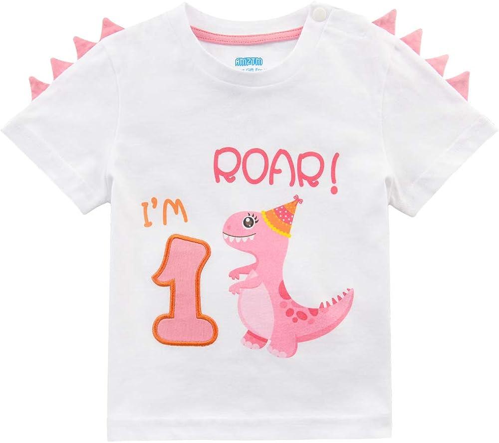 AMZTM Camiseta 1er Cumpleaños Bebé Niña Dinosaurio Cumpleaño Fiesta Manga Corta