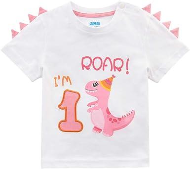 AMZTM Camiseta 1er Cumpleaños Bebé Niña Dinosaurio Cumpleaño Fiesta Manga Corta Tops Ropa 1 Año 100% Algodón Blanca Dino Impreso tee(Blanca, 1 Año - 80): Amazon.es: Ropa y accesorios