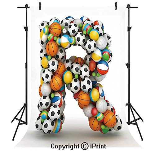 - Letter R Photography Backdrops,Realistic Looking Volleyball Basketball Soccer Balls Language of The Game Theme,Birthday Party Seamless Photo Studio Booth Background Banner 5x7ft,Multicolor